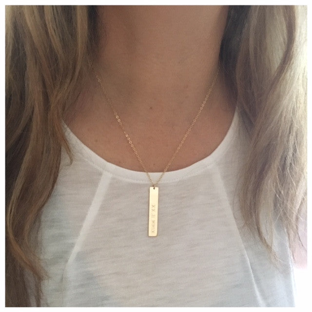 vertical gold products long name bar initial necklace