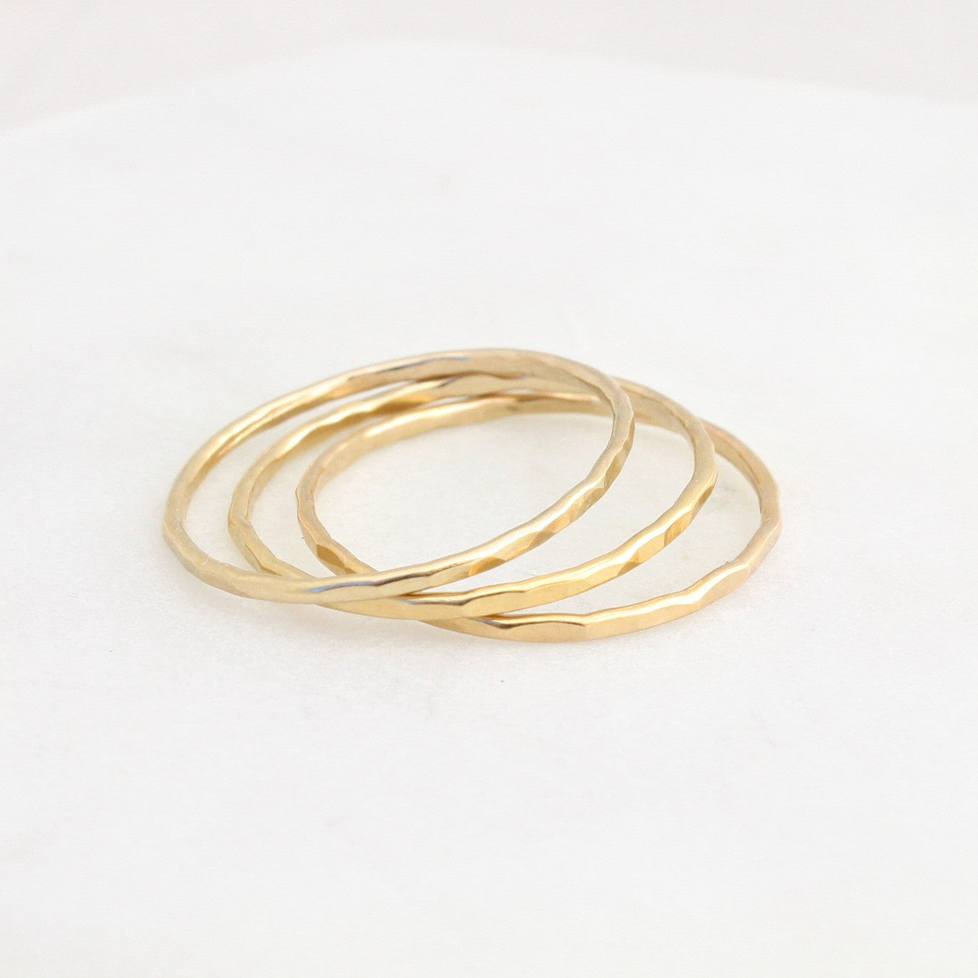 8a3d38e8a Triple Stack Skinny Hammered Rings - Sterling Silver / 14k Gold Filled -  Eden Zoe