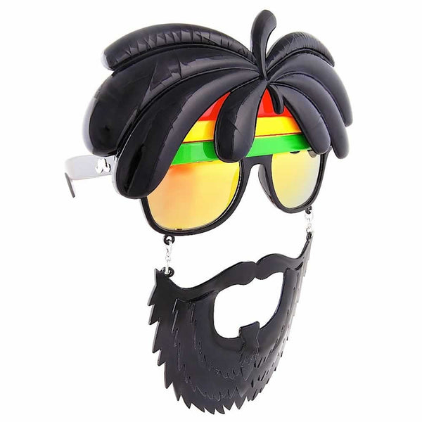 Become a rastaman with these carefree Rasta Sun-Staches. They're sunglasses with dreads and a beard!