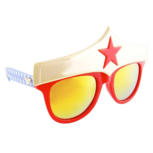 Ladies, these Wonder Woman Star Sun-Staches are perfect for your casual superhero costume.