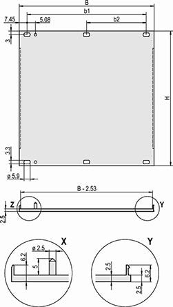 Schroff | 30848-358 |  Front Panel, front anodized and rear conductive, shieldable (textile), screw assembly, 3Ux12
