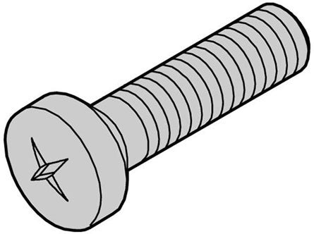 nVent Schroff | 21101-221 |  Panhead screw, cross recess (M2.5x12), steel nickel plated (100pcs)