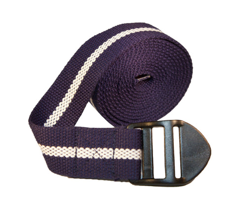 Yoga Strap 8' (Navy with Cream Sripe)