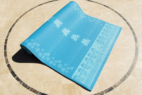 "1/4"" Lotus Print Pilates Mat - 68"""