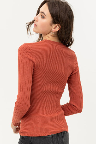 Round Neck Ribbed Basic Top (colours)