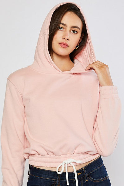 Brushed Fleece Cropped Pullover Hoodie