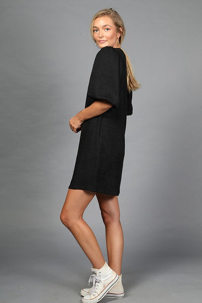 Puff Sleeve Knit Mini Dress