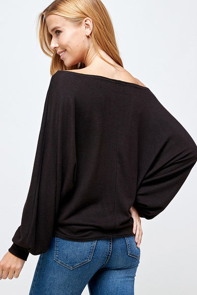 Dolman Sleeve Brushed Knit Top