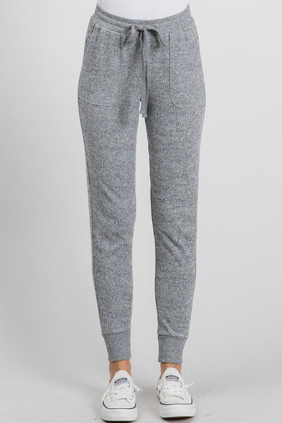 Brushed Ribbed Knit Jogger