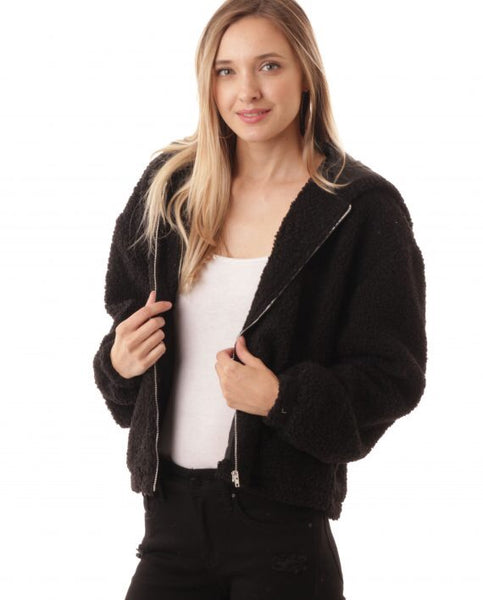 Zip Up Fluffy Jacket W/Hood