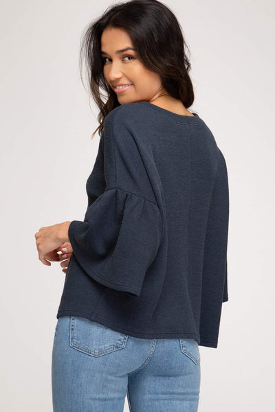 Bell Sleeve Rib Knit Crop