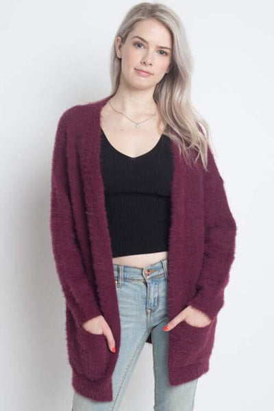 Fuzzy Cardigan With Pockets