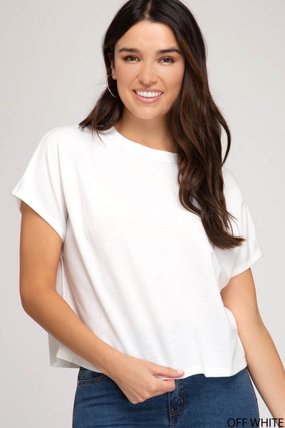 Drop Shoulder Light Weight Terry Knot Top (2 colours)