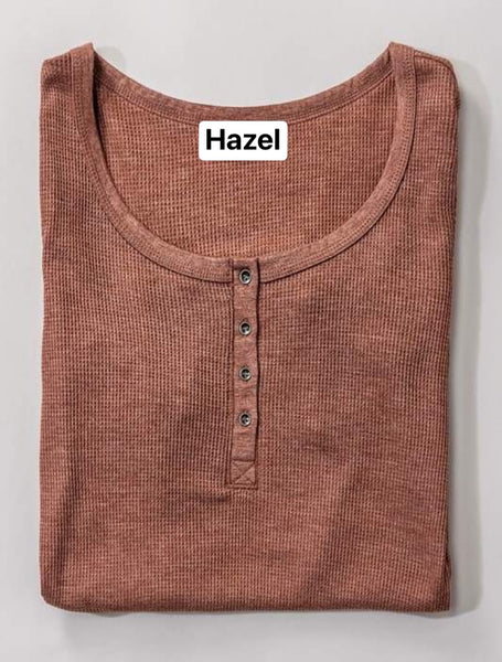 Waffle Knit Button Thermal Top
