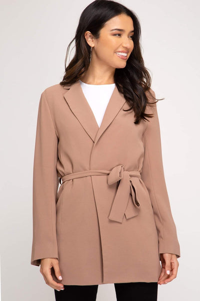 Long Sleeve Blazer with Waist Sash (2 colours)
