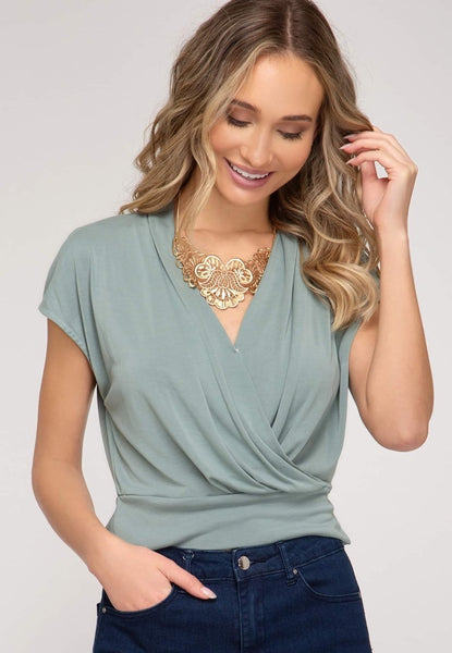 Drop Shoulder Modal Cupro Surplice Top