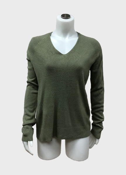 V Neck Side Ribbed Sweater