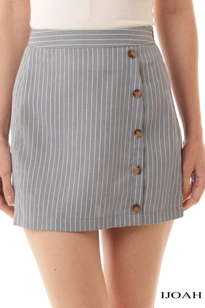 Stripe side button skirt