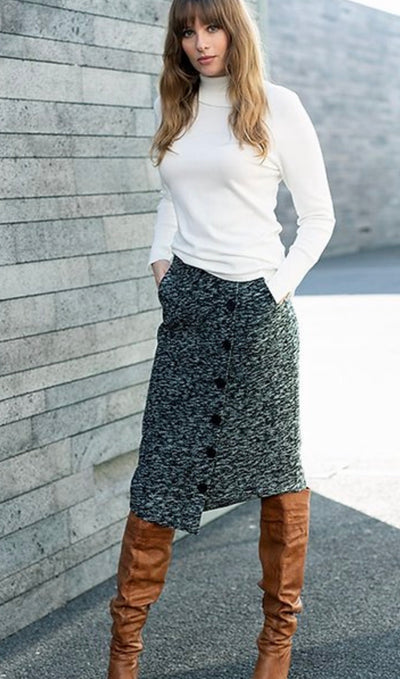Marble Charcoal Button Skirt