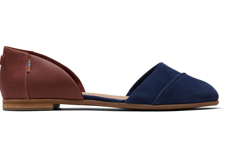 Jutti D'orsay navy penny brown suede flat