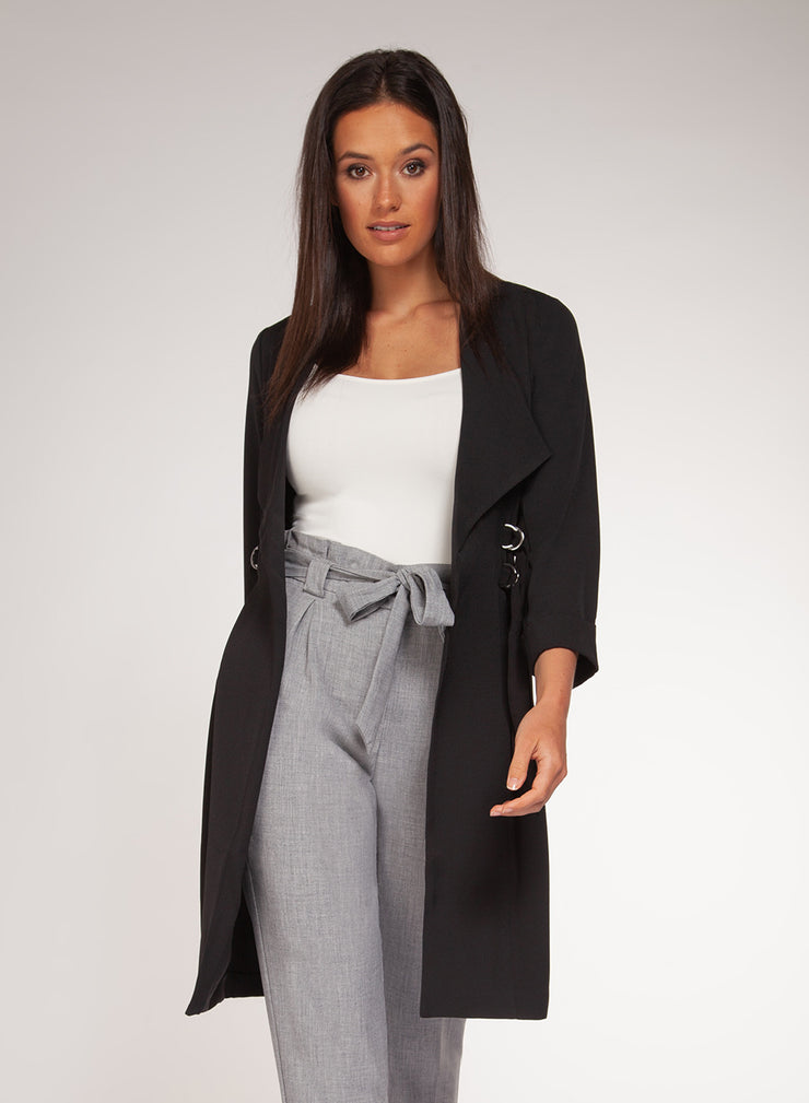 Double belt long blazer