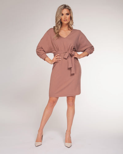 Taupe belted dress