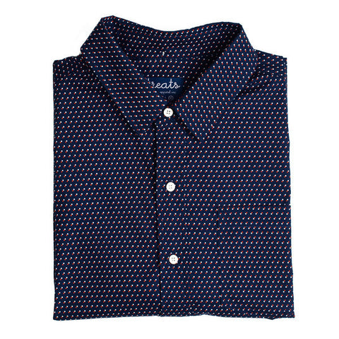Treats Square Pipes (Navy) Short Sleeve Button Down Shirt