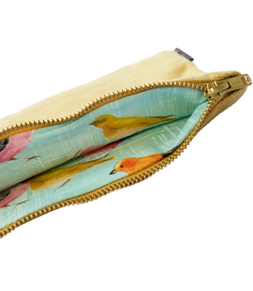 Yellow Vintage Teal-Birds Canvas Pouch
