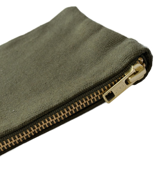 Army Vintage Canvas Pouch YKK Brass Zipper