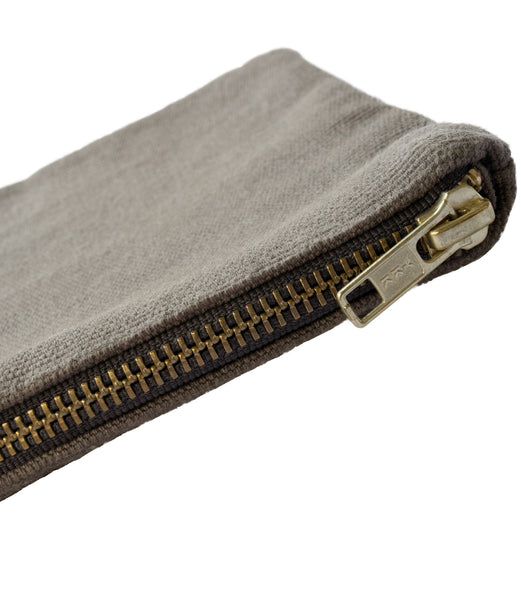 Grey Vintage Canvas Pouch YKK Brass zipper