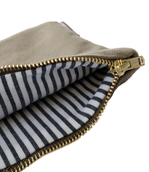 Grey Vintage Pinstripe Canvas Pouch