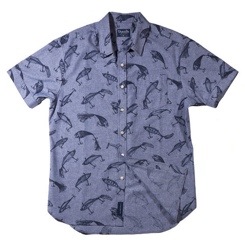 Treats Lures (Navy) Short Sleeve Button Down Shirt