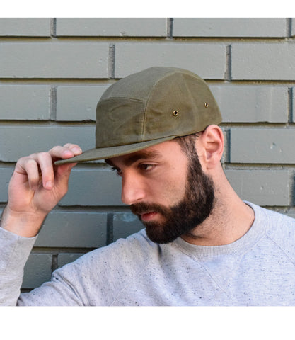 Army Green Waxed Canvas 5-Panel Hat