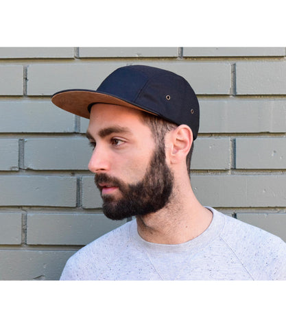 Polyester (Black with Suede contrast)  5-Panel Hat
