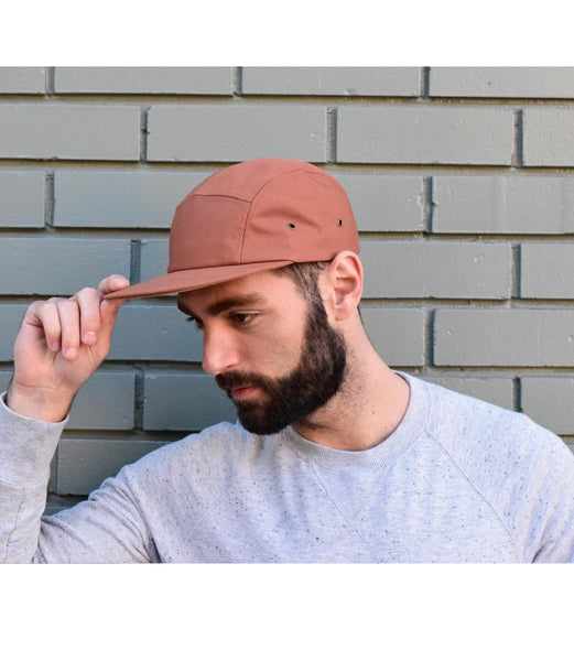 Polyester (Orange with Suede brim) 5-Panel Hat