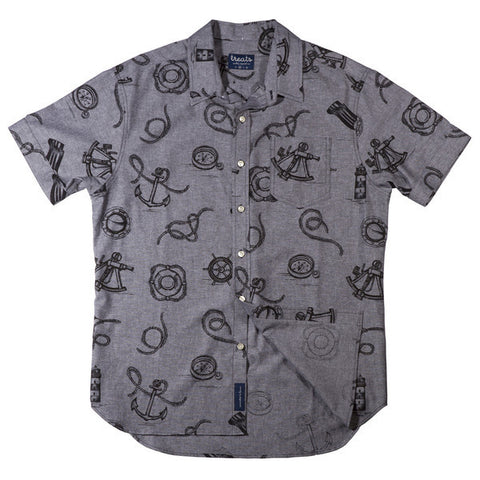Treats Whaler (Grey) Short Sleeve Button Down Shirt