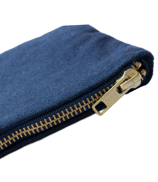 Navy Deluxe Canvas Pouch YKK Brass Zipper