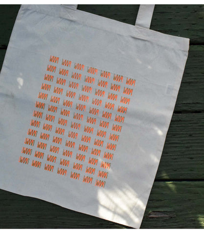 LAAM Logo Screen Printed Tote (Orange/Grey)