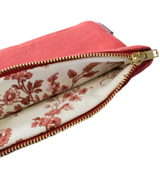 Red Vintage Red-Floral Canvas Pouch