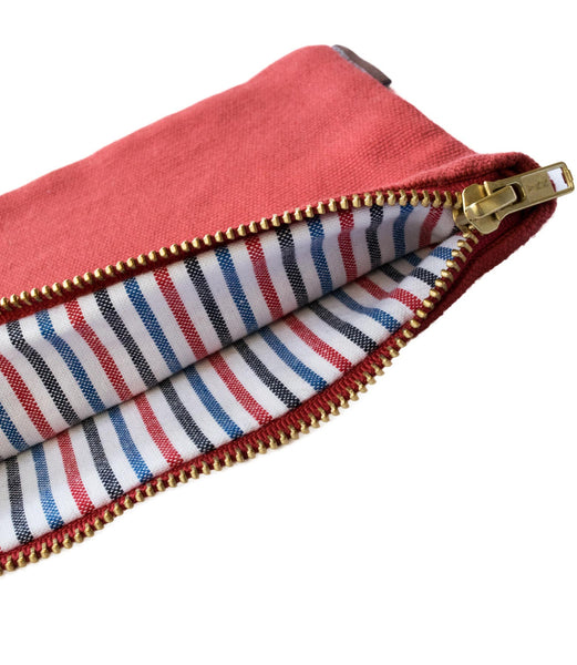 Red Vintage Pinstripe Canvas Pouch
