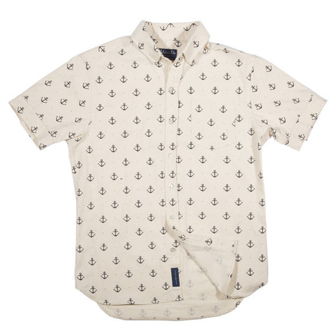 Treats Anchors (Creme) Short Sleeve Button Down Shirt