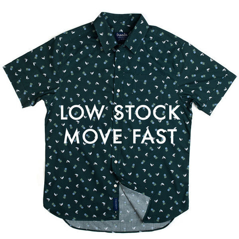 Treats Dolphin/Pineapple (Green) Short Sleeve Button Down Shirt