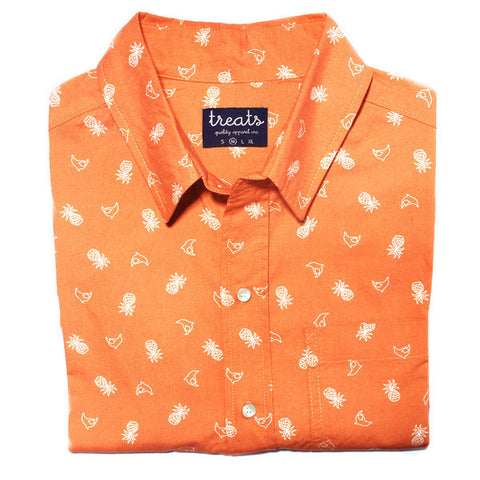 Treats Dolphin/Pineapple (Orange) Short Sleeve Button Down Shirt