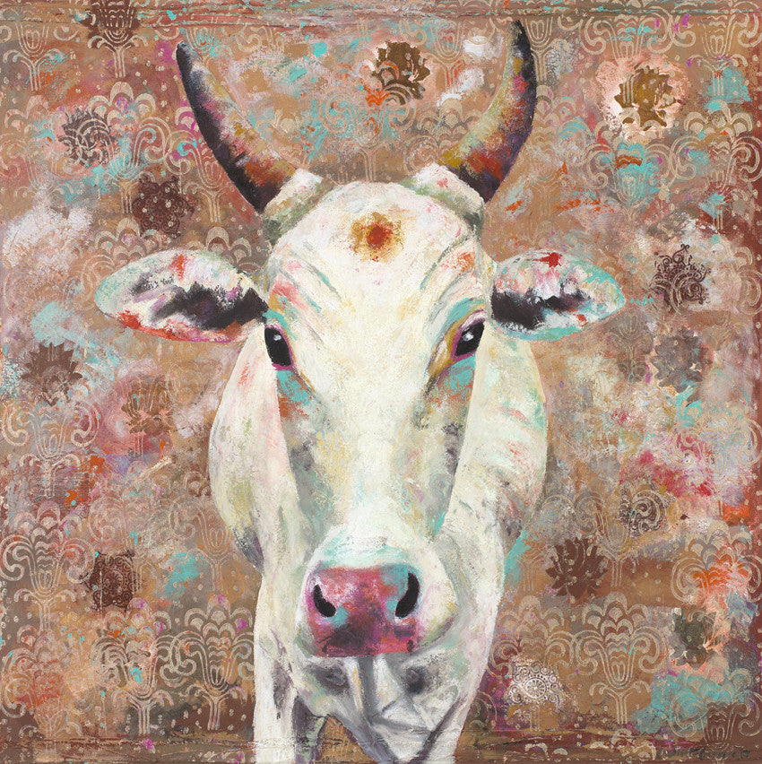 COW, PAINTING, INDIAN, CANVAS, ART