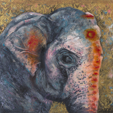 elephant, indian, cows, art, charlotte gerrard, africa, colour
