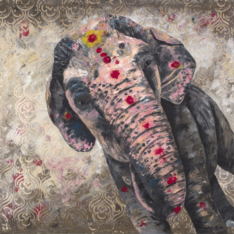 indian, paintings, elephant, art, charlotte gerrard, temple, colours, vibrant,