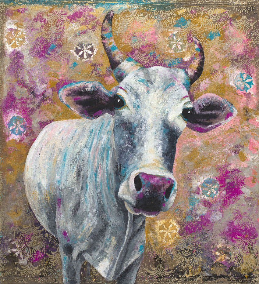 Sita, orignal, cow, painting, charlotte gerrard, Indian, street cow, art