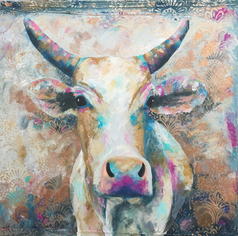 indian, paintings, cow, art, charlotte gerrard, animal, colour,