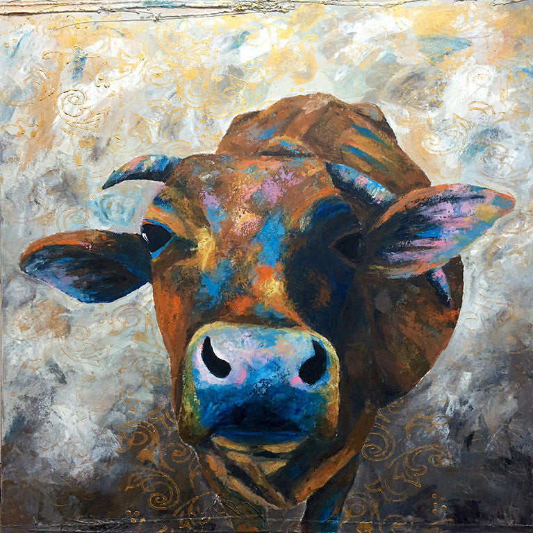 indian, paintings, cow, art, charlotte gerrard, animals, original, home,