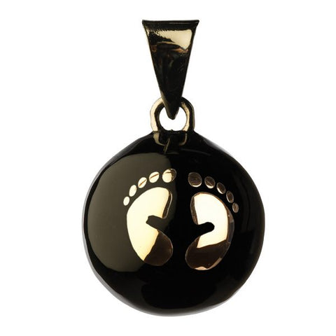 Bola Pendant - Gold Footprints on Black - Eloquence Boutique